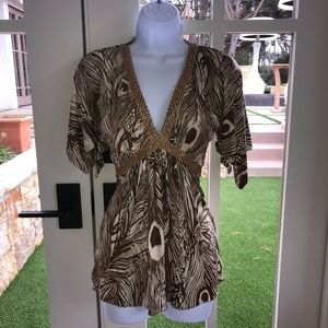 Sky Brand Brown Tan Feather Print w/Gold Chain